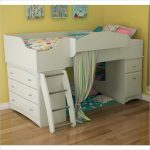 Berg white loft bed for girls with built in storage built in ladder and sliding curtain as the enclosure