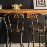 Best Vintage Metal Bar Stools With Wooden Wall Mounted Table