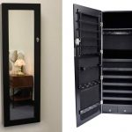 Black Wooden Hanging Jewelry Armoire With Mirror Door