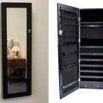 Black Wooden Hanging Jewelry Armoire With Mirror Door