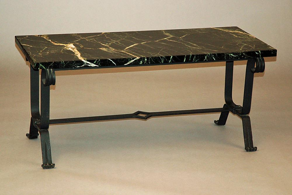 Wrought iron sofa table with marble top for Wrought iron sofa table base