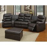 Black leather sectional recliner black leather ottoman table  grey area rug