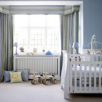 Blackout Curtains Nursery With Stripped Pattern And White Cribs Storage