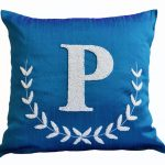 Blue With P Letter And Leaves Pattern On Monogrammed Throw Pillows