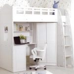 Bunk with stairs and deks plus movable chair in white color