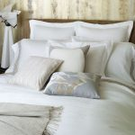 Charming White Restoration Hardware Linen Sheets On Bed With Pillows