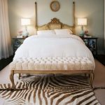 Chic Bedroom With Cheetah Print Rugs Printed