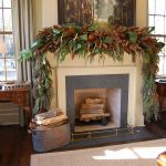 Christmas Rustic Mantel Decor For Fireplace With Christmas Tree And Awesome Rug