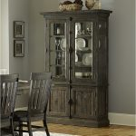 Classic Dark Wooden Tall China Cabinet For Dining Room