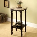 Classic styled stand plant idea made from wooden which is finished with black color paint and square marble top