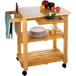 Clear coated wood kitchen cart idea with under shelves and wheels