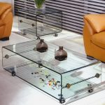 Clear glass coffee table on casters clear side table on casters