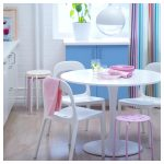 Colorful Kitchen Design With White Ikea Tulip Table And Chairs
