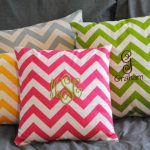 Colorful Stripped Design Of Monogrammed Throw Pillows