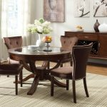 Comfortable Retro Wooden Round Dining Table Set With Leaf And Four Chairs Plus Cabinet