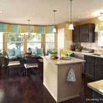 Contemporary Window Valances With Green And Blue Color And Dark Wooden Kitchen Cabinet Set