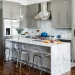 Cool Kitchen Makeovers On A Budget With Marble Kitchen Islands And Kitchen Stools With Double Glass Lights