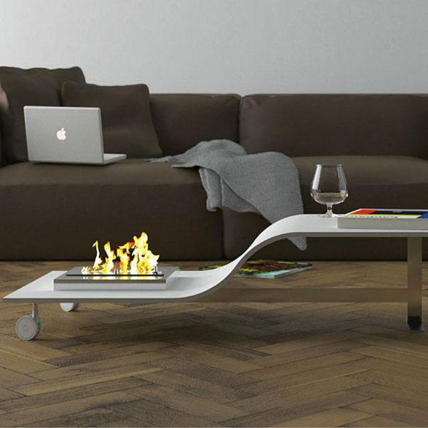 Cool Coffee Table In White With Modern Indoor Fire Pit