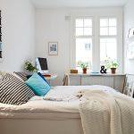 Corner Small Bedroom Desks Near White Bed And White Cabinet