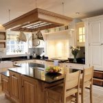 Country Kitchen Makeovers On A Budget WIth Wooden Kitchen Island And Hanger Storage Place