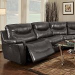 Curved reclining sectional in black and in leather coat