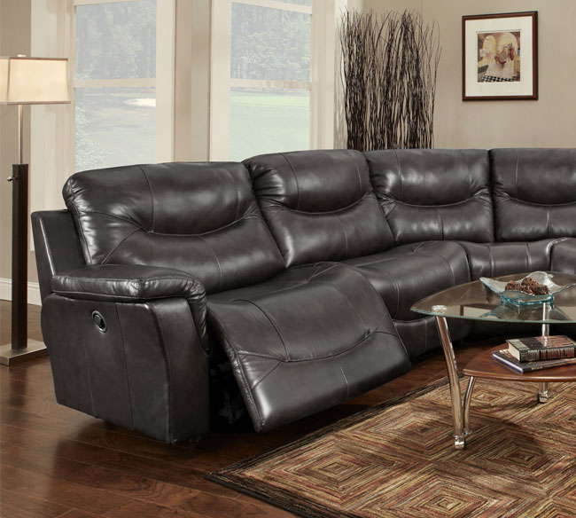 Curved Sofa Sectional Leather: Black Leather Curved Recliner Sofa