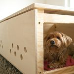 DIY Coffee Table Dog Crates With Partition Inside On Medium Size And Doors On Two Sides With Magnet And Holes For Breathe Made Of Wood(1)