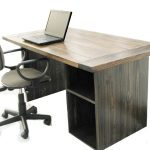 Dark Wooden Rustic Office Desk With Office Chair