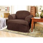 Dark brown club chair slipcover idea