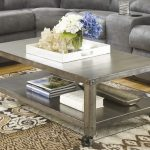 Dark wood coffee table with shelf and casters
