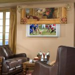 Decorative Flat Screen TV Covers With Double Leather Chair