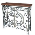 Decorative Wrought Iron Sofa Table With Long Wooden Top