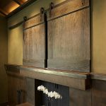 Door Flat Screen TV Covers Above Wooden Fireplace