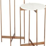 Earthy brown acrylic accent tables idea with white round top