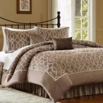 Elegant Bed With Cool Comforter Sets And Wrought Iron Headboard