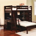 Elegant Dark Wooden Bunk Beds With Desks And White Rug