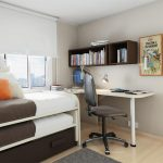Elegant Small Bedroom Desks With Wooden Book Storage And Double Bed