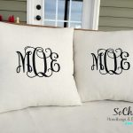 Elegant White Monogrammed Throw Pillows