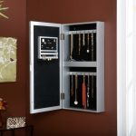Elegant White Wooden Hanging Jewelry Armoire