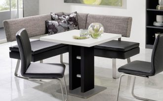 Elegant corner bench kitchen set with grey backrest and black leather seating  modern white top table with black base and a pair of modern black chairs