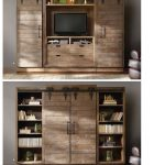 Entertainment center with door and bookshelves in vintage style