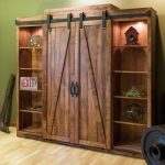 Entertainment center with door and shelves for both sides in rustic theme