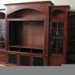 Entertainment center with door shelves and glass door cabine systems