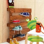 Entryway shoe storage made of solid wood