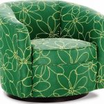 Flower patterned green club chair slipcover idea