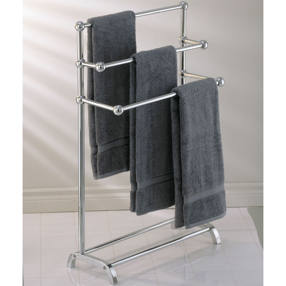 Free Standing Towel Racks With Triple Place And Grey Towels