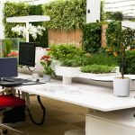 Fresh Green Office Ideas With White Desk And Red Recliner