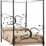 Full Iron Canopy Bed Frame With Leaves Design