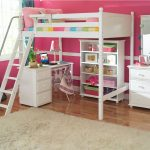 Girl White Bunk Beds With Desks Pink Wall And Fur Rug