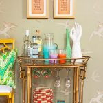 Gold Bamboo Bar Cart Accessories With Green Wallpaper